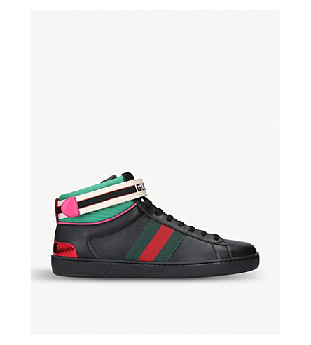 New Ace metallic-trimmed leather high-top trainers(2083300169)