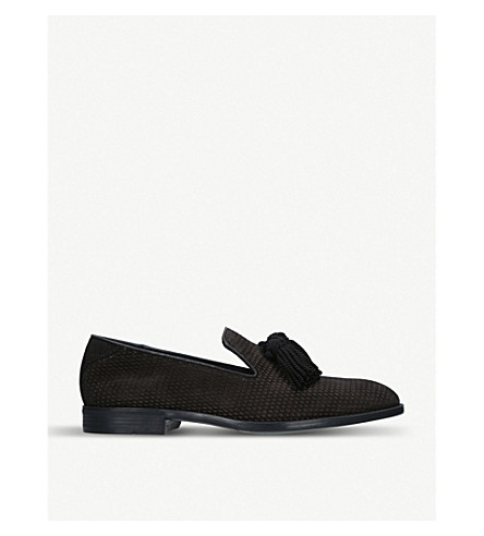 JIMMY CHOO Foxley Tassel suede loafers (Black