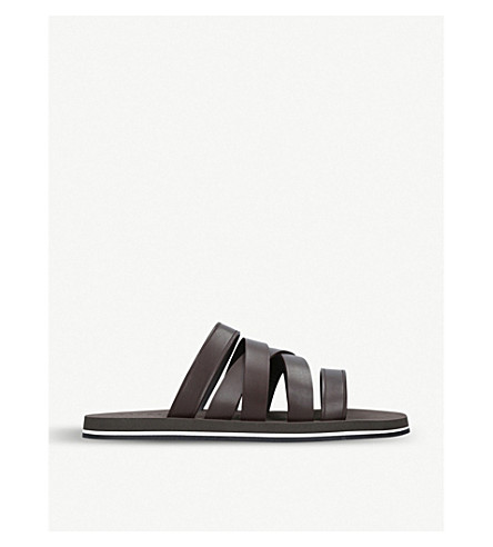 DAN WARD Asymmetric strapped leather sandals