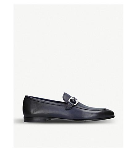 SALVATORE FERRAGAMO Gancini slip-on leather loafers (Navy