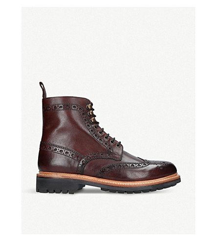 GRENSON Fred leather brogue boots (Dark+brown