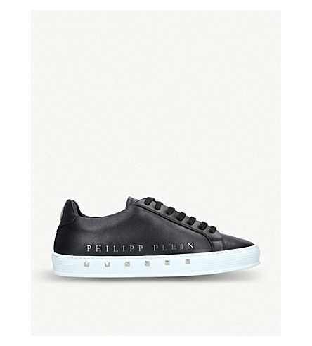 PHILIPP PLEIN The First stud-embellished leather trainers (Blk/white