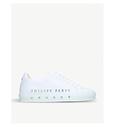 PHILIPP PLEIN 第一铆钉缀饰皮革运动鞋 (白色
