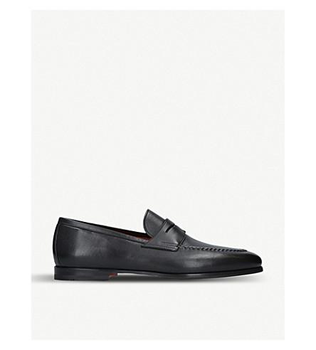 SANTONI Carlos flexi leather loafers (Black