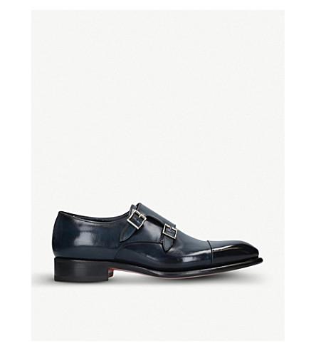 SANTONI 卡特双皮带革和尚鞋履 (海军