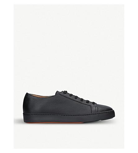 SANTONI 低帮皮革运动鞋 (黑色