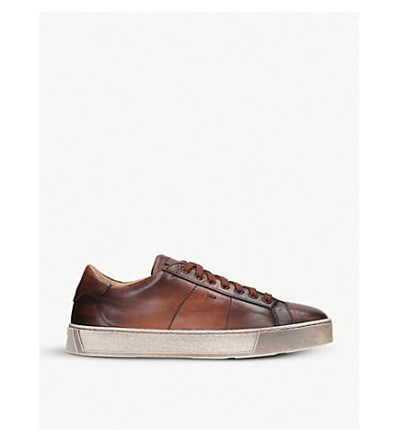 SANTONI 凯莱皮革运动鞋 (深色 + 棕色
