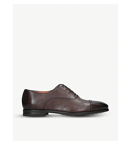 SANTONI 鞋履皮革牛津 (深色 + 棕色