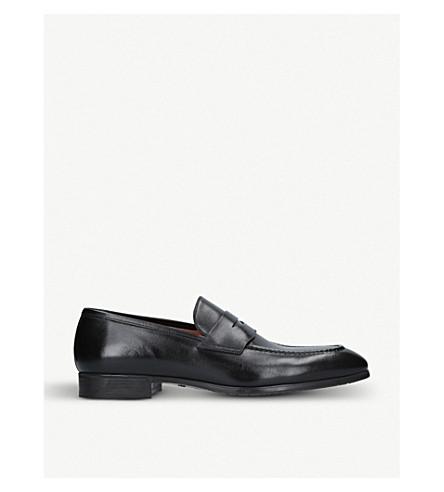 SANTONI 西蒙皮革便士乐福鞋 (黑色