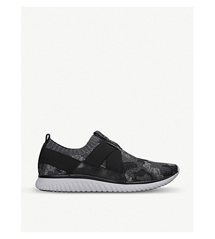 COLE HAAN Camo-knit and leather trainers (Blk/grey