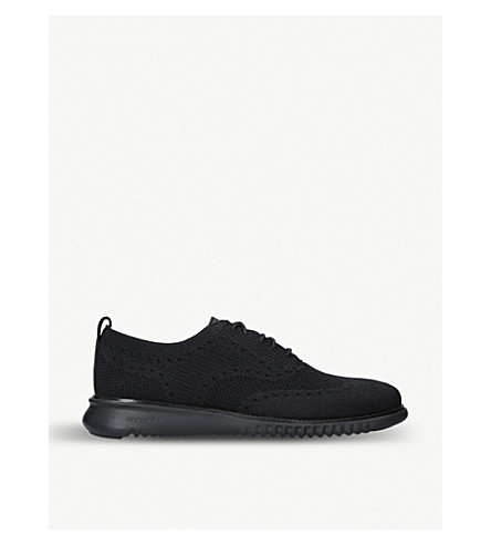 COLE HAAN 2.ZERØGRAND Oxford stretch-knit trainers (Black