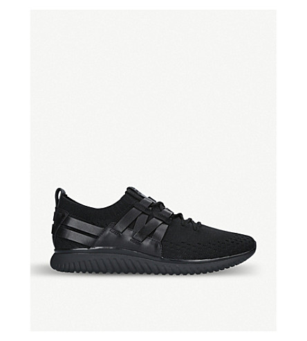 COLE HAAN Grand Motion Runner knit and leather trainers (Black