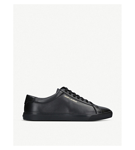 SAINT LAURENT Andy logo-print leather trainers (Black