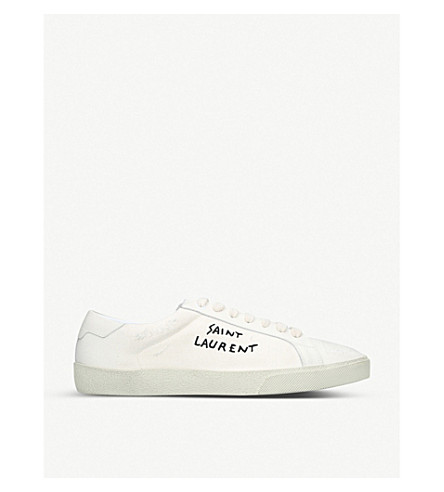 SAINT LAURENT Logo-embroidered leather-trimmed canvas trainers (White