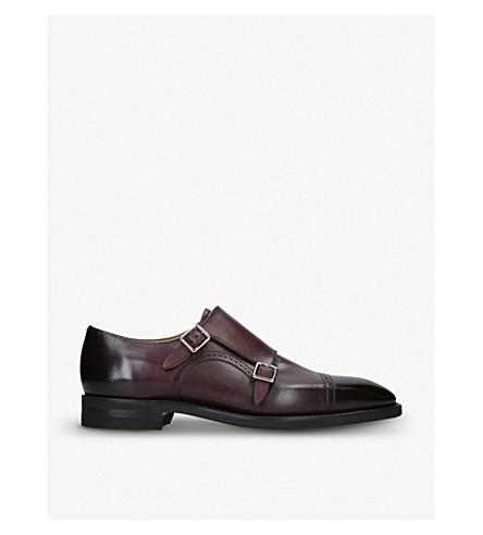 BALLY Leather double monk shoes (Wine