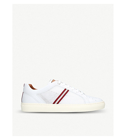 BALLY Herk perforated leather trainers (White/red