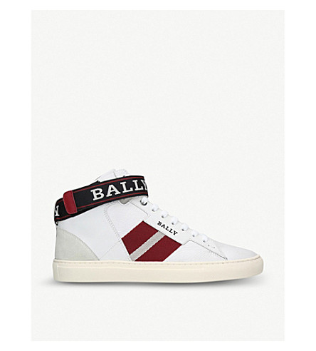 BALLY Heros leather high-top trainers (White/red