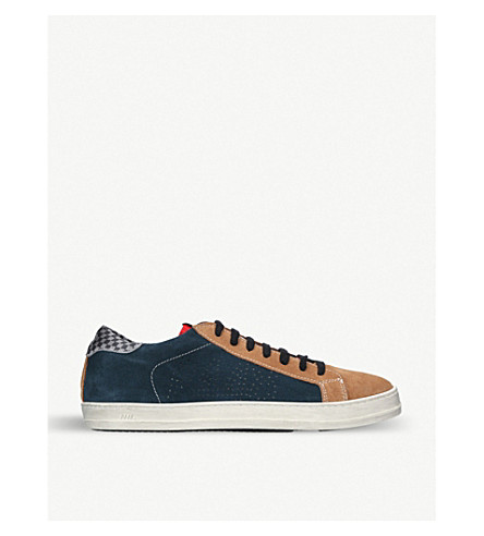 P448 E8 John patchwork-panel suede low-top trainers (Green