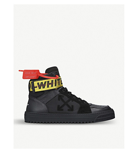 OFF-WHITE Industrial belt high top leather sneakers