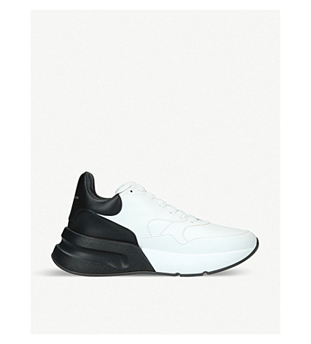 ALEXANDER MCQUEEN Runner two-tone leather trainers (White/blk