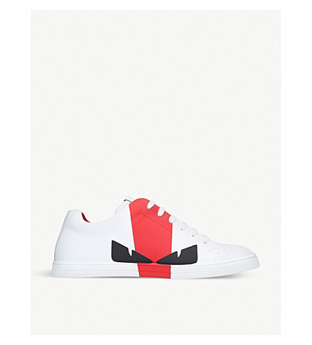 FENDI Bugs leather trainers (White/red