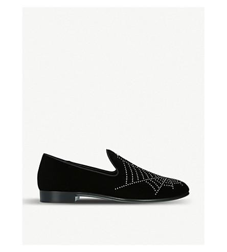 GIUSEPPE ZANOTTI Web-embellished velvet loafers (Blk/other