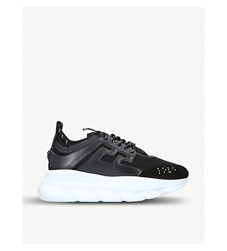 VERSACE Chain Reaction mesh and leather trainers (Black