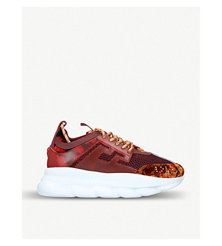 VERSACE Chain Reaction mesh and velvet trainers (Wine