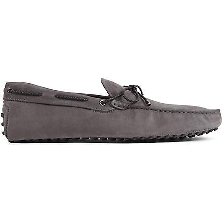 TODS Gommino heaven driving shoes in nubuck (Grey/dark