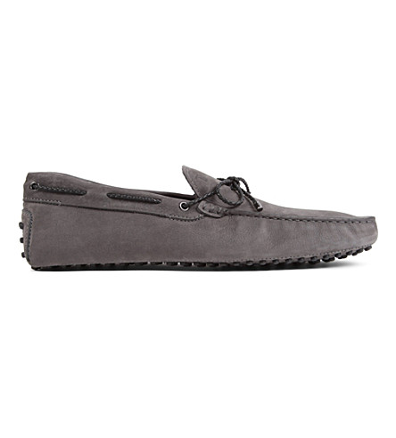 TODS Gommino heaven driving shoes in nubuck (Grey/dark