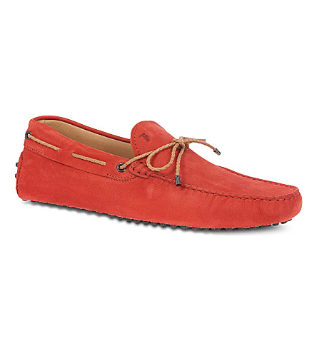 TODS Gommino Driving Shoes in Nubuck (Red