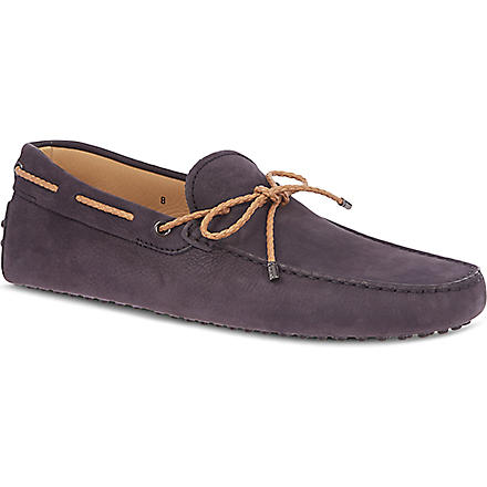 TODS Gommino Driving Shoes in Nubuck (Navy