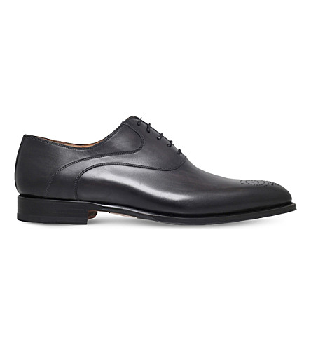 MAGNANNI Perforated-detail leather Oxford brogues (Grey