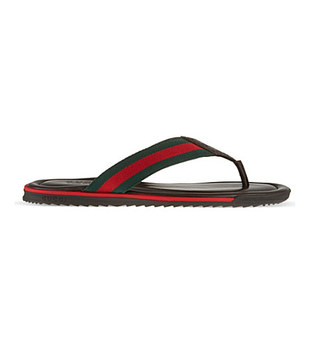 GUCCI SL73 thong sandals (Dark+brown