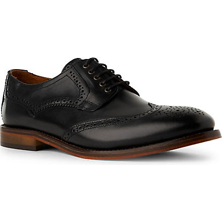 H BY HUDSON Haskin leather Derby shoes (Black