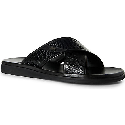 STEMAR Lizard-print cross-strap sandals (Black