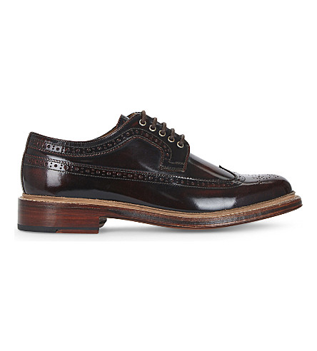 GRENSON Sid wingcap leather Derby shoes (Wine