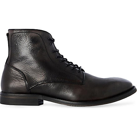 H BY HUDSON Smyth grained-leather boots (Black