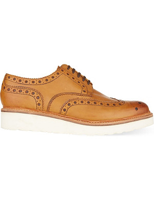 GRENSON Archie wedged leather Derby shoes