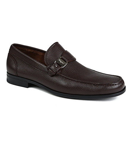 FERRAGAMO Bravo pebbled leather loafers (Brown