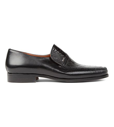STEMAR Ostrich Vamp leather loafers (Black
