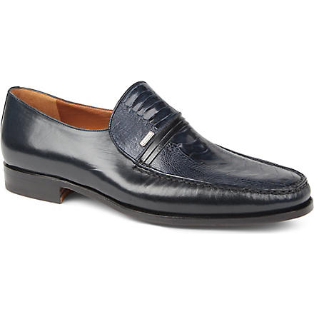 STEMAR Ostritch Vamp leather loafers (Navy