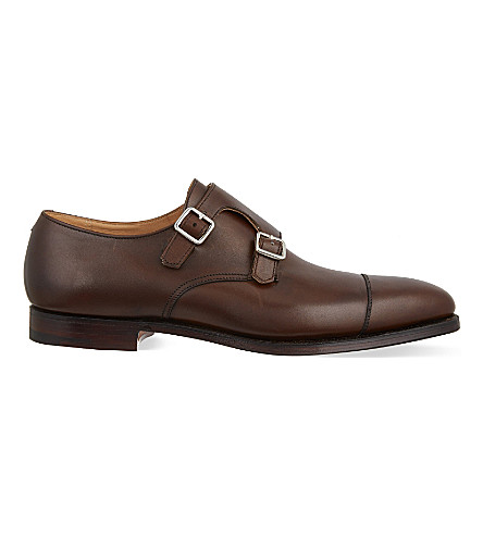 CROCKETT & JONES Lowndes leather double monk shoes (Brown