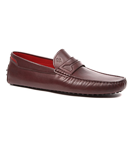 TODS Ferrari leather driving moccasins (Wine