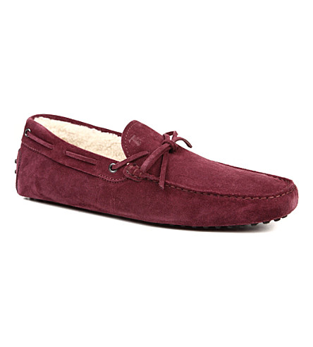 TODS 122 shearling-lined driver shoes (Wine