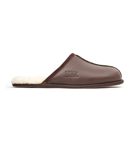UGG Scuff leather slippers (Dark+brown