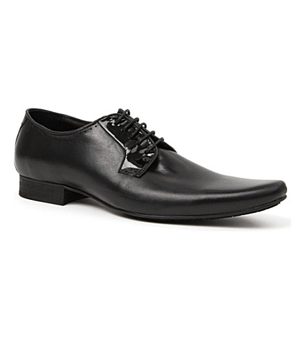 H BY HUDSON Larkin patent-trim Derby shoes (Black