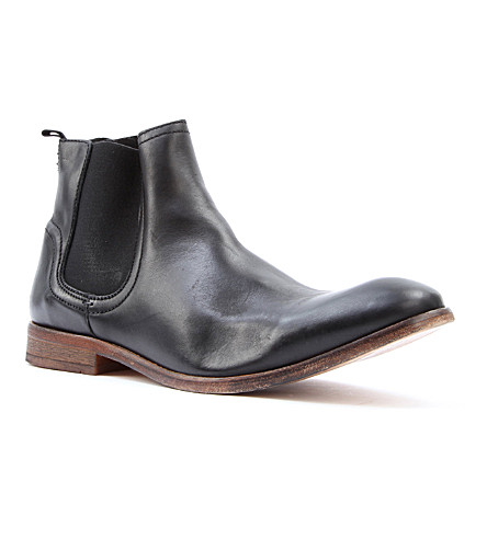 H BY HUDSON Patterson leather Chelsea boots (Black