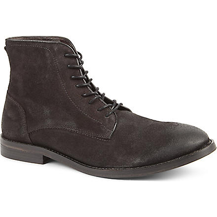 H BY HUDSON Smyth leather lace boot (Grey