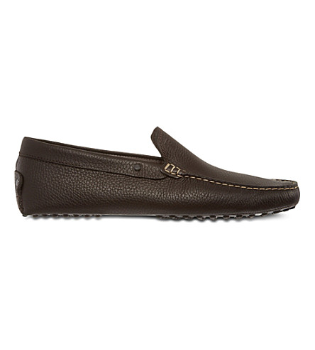 TODS Gommino driving shoes in leather (Dark+brown